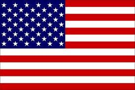 The flag of the United States of America (the American flag) consists of 13 horizontal stripes alternating between red and white with a dark blue rectangle at the canton. There are 50 white 5-pointed