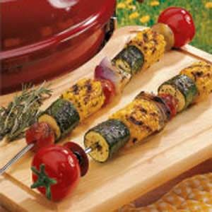 Grilled Vegetable Skewers my thoughts are to leave out the basil, rosemary, thyme and salt and use balsamic vinegar instead.....or a spritz of balsamic vinegarette dressing.