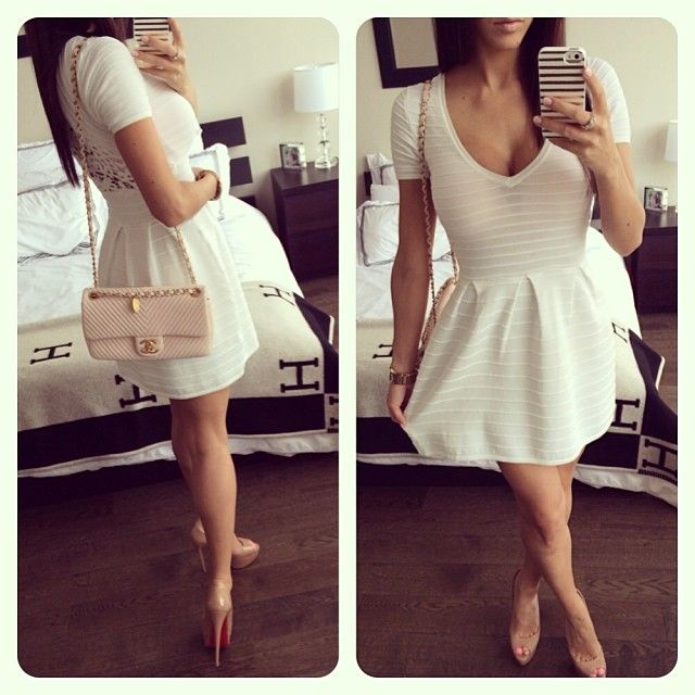 Girly & Fancy. White Dress W/ Lace Back & Nude Accessories.