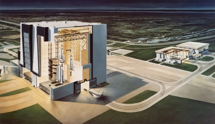 """""""An artist's impression showing a cross section of the Vehicle Assembly Building at the Kennedy Space Center on Merritt Island, Florida, 10th January 1974. The booster vehicle for the space shuttle orbiter is already configured (left). On the right,..."""