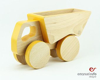 Items similar to Truck Wooden Toy, Red Wooden Truck with Trailer Toy, Toddler Birthday Gift Boy, Push toy for Toddlers on Etsy