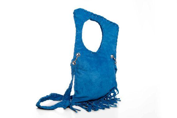 Blue Suede Handmade Messenger Bag  Fringe by EleannaKatsira, €156.00