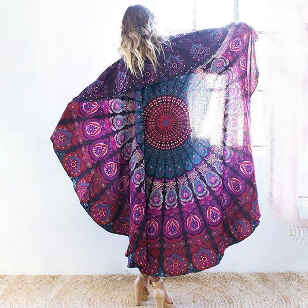 Bedspreads – Round Peacock Indian Mandala Tapestry - 72x72'' – a unique product by IndianCraftPalace on DaWanda