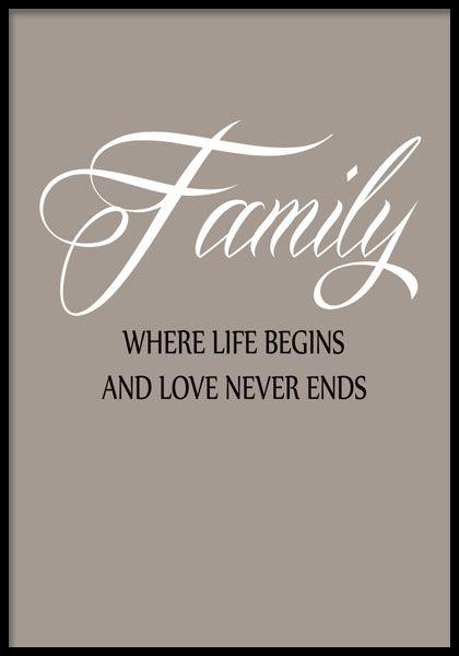 Tavla med trevlig text om familj.
