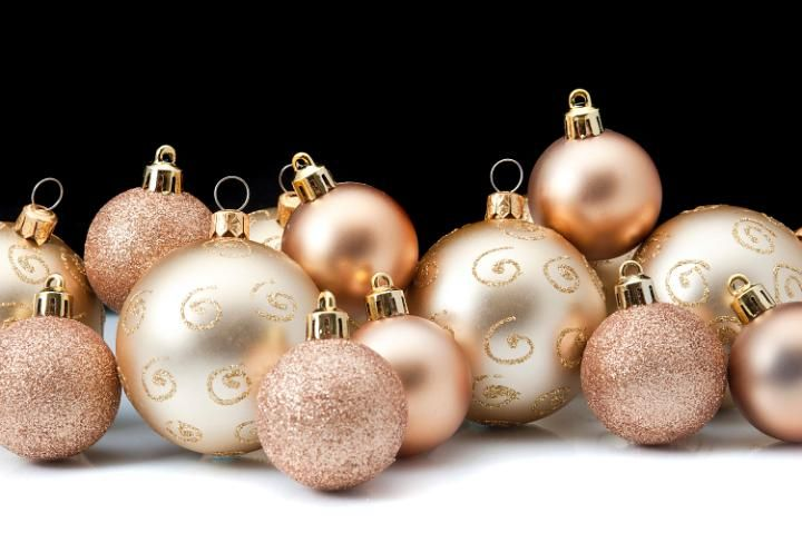 gold, rose gold Christmas ornaments
