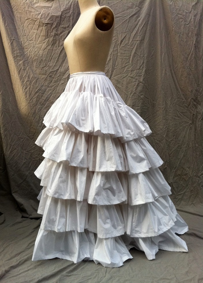 Ruffled Petticoat five ruffles Civil War Era in cream or white polished cotton.