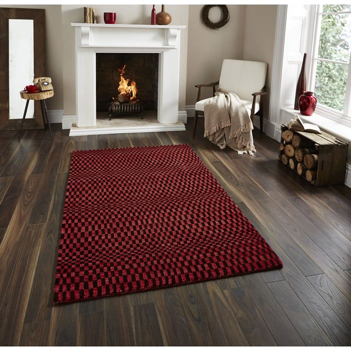 Designer Rugs Think Sonic Red Contemporary Rug