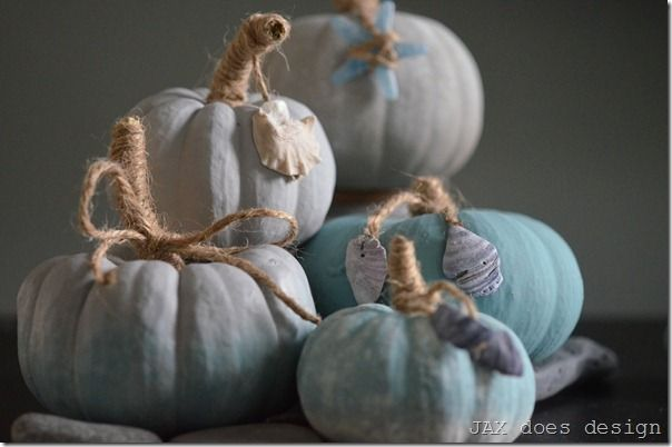 Coastal-inspired chalk paint pumpkins