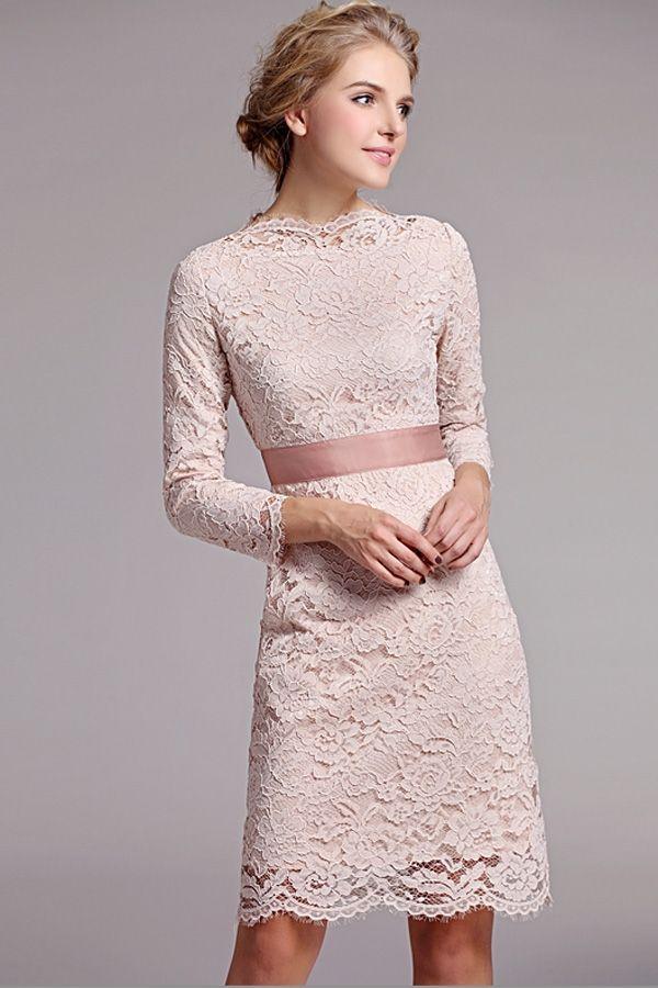 Apricot-Elegant-Long-Sleeves-Dress
