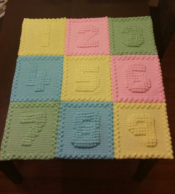 Crochet Numbers Baby Blanket Using Popcorn Stitch Thank