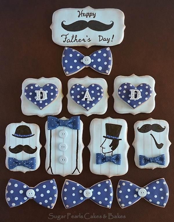 True Gent Mustache and Bowtie Father's Day Cookies with silhouettes - Sugar Pearls Cakes and Bakes via Cookie Connection