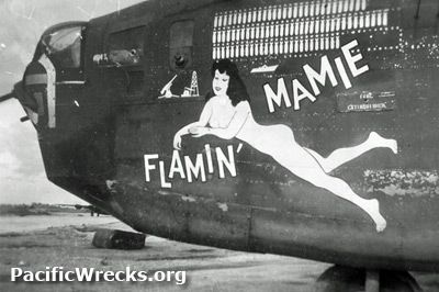 """Assigned to the 5th Air Force, 43rd Bombardment Group, 403rd Bombardment Squadron during April 1943. Nicknamed """"Flamin Mamie"""". Bomb markings indicated missions flown and silhouette of a ship, oil refinery and gun. On the tail was the last three digits of the serial number """"062"""". This B-24 flew at least 100 combat missions over New Guinea."""