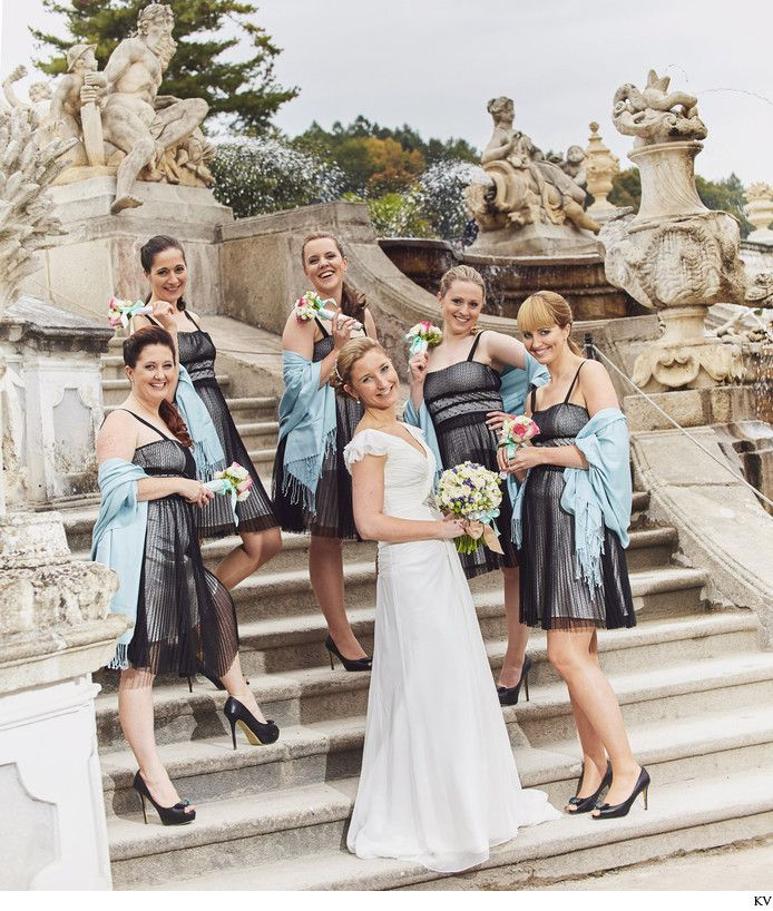 Cesky Krumlov wedding photographers Jana & her bridesmaid strike a pose during her wedding day at the castle in Cesky Krumlov.