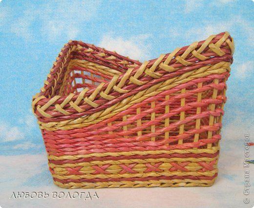 Поделка изделие Плетение цветочная корзинка Трубочки бумажные фото 1