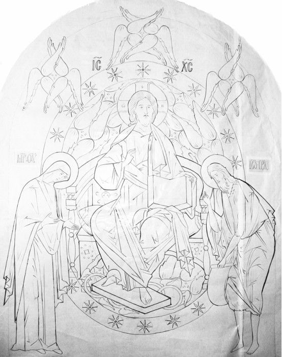 christ in glory deesis russian drawing