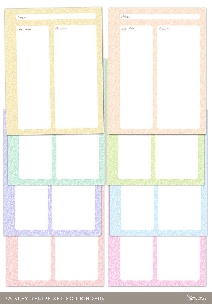 recipe binder templates printable free | Paisley Recipe Set for Binders | Printable | Bizuza Printables