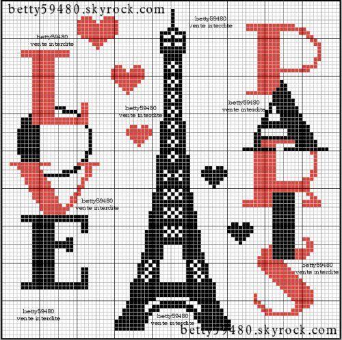 France - country - tour eiffel paris - point de croix - cross stitch - Blog : http://broderiemimie44.canalblog.com/