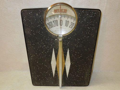 Vintage DETECTO Black Bathroom Scale MID CENTURY MODERN Atomic Glitter & Handle