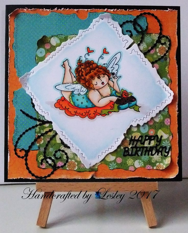 6 inch square card made using Stamping Bella's Edna loves chocolate stamp and coloured with Spectrum Noir pens and Sparkle pens. More details can be found at  http://stampingbubbles.blogspot.co.uk/2017/05/celebrating-with-edna.html