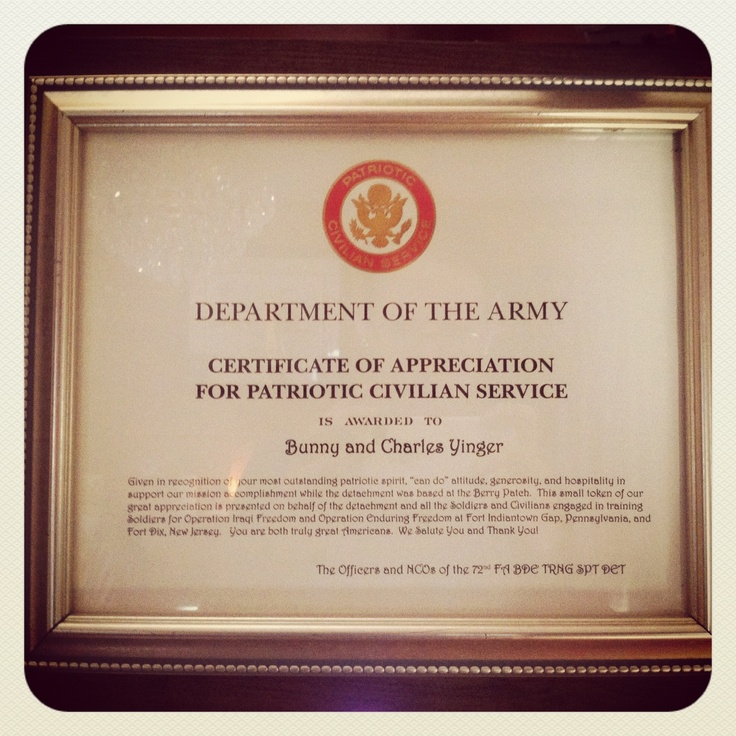 certificate of appreciation for patriotic civilian service