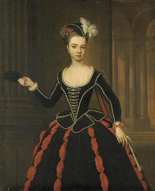 Thomas Gibson (c.1680-1751) Portrait of the Hon. Mrs William Townshend, three-quarter-length, in black and red masquerade dress, holding a mask in her right hand. c. 1735