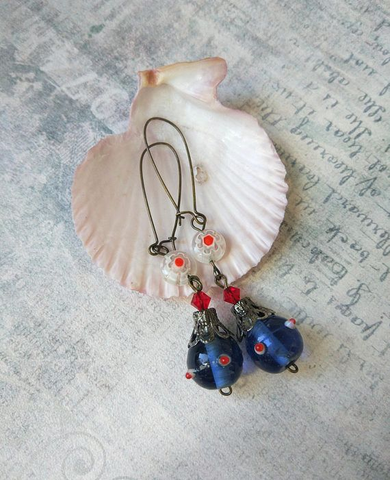 Victorian earrings blue murano glass lampwork Boho Bronze Italian Venetian white red accent daisies gift glass for woman sister Mothers Day