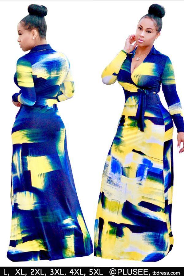 [PLUSEE] V Neck Graffiti Women's Maxi Dress
