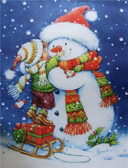 Первым, открытка снеговики с новы