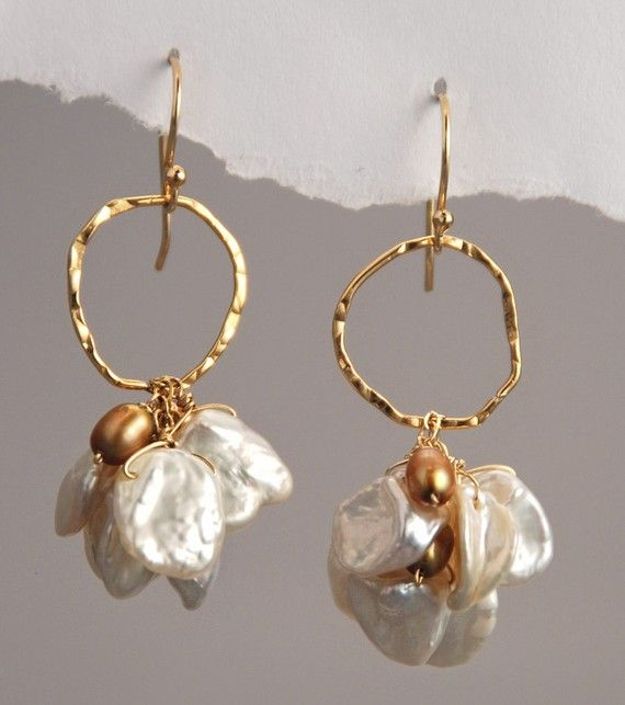 White Keshi and Gold Freshwater Pearls Earrings by delezhen, $58.00