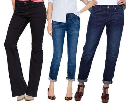 "Look for a midrise jean that hits right at your belly button. This is the ideal waist height—too high and you get the dreadful ""Soccer Mom"" effect, too low and you're lettin' it all hang out. Styles We Like (left to right): Gap 1069 Mid-Rise Flare Jeans, $70; J. Crew Vintage Straight Jean, $125;501 Jeans for Women, $98."