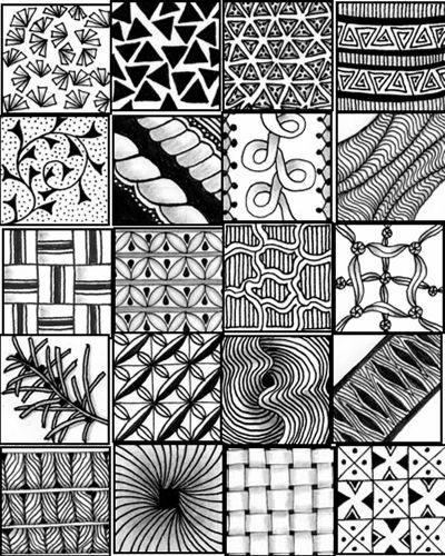 Zany image in printable zentangle patterns
