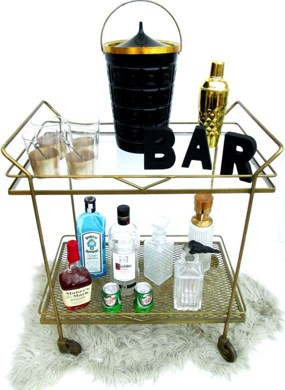 IndustrialChic Iron Bar Cart  Vintage Portable by ElectricMarigold, $378.00