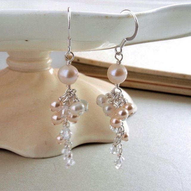 Abigail Pearl Drop Earrings - Crystal and Pearl Cascase Drop Wedding Earrings £45.00