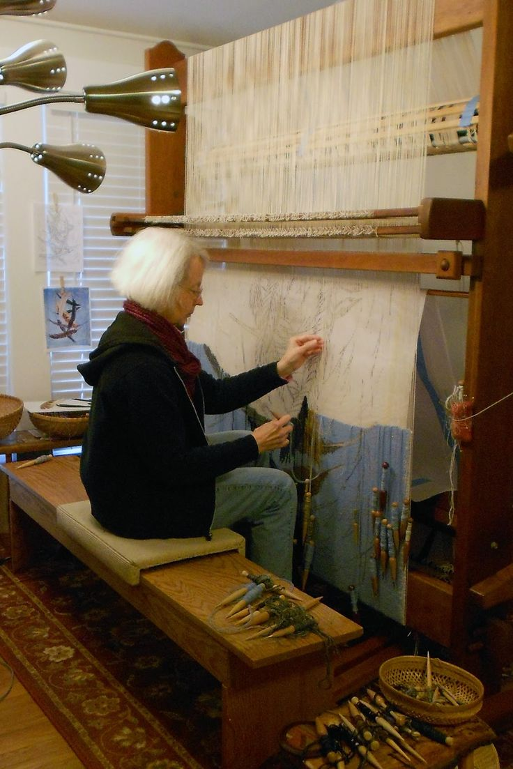 Contemporary tapestry artist Tommye Scanlin in her studio