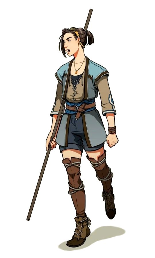 Female Human Monk With Staff Pathfinder Pfrpg Dnd D Amp D 3