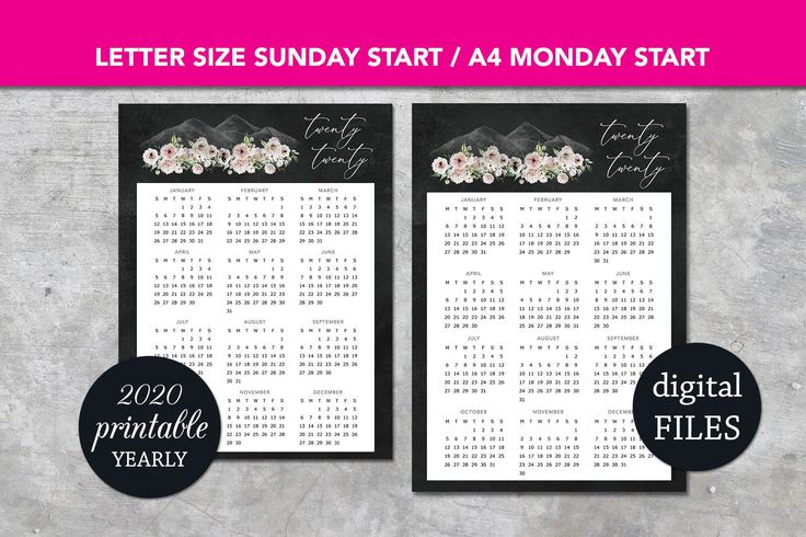 Calendar 2020 Printable Wall Calendar, Floral mountains Calendar Printable Instant download Yearly calendar print