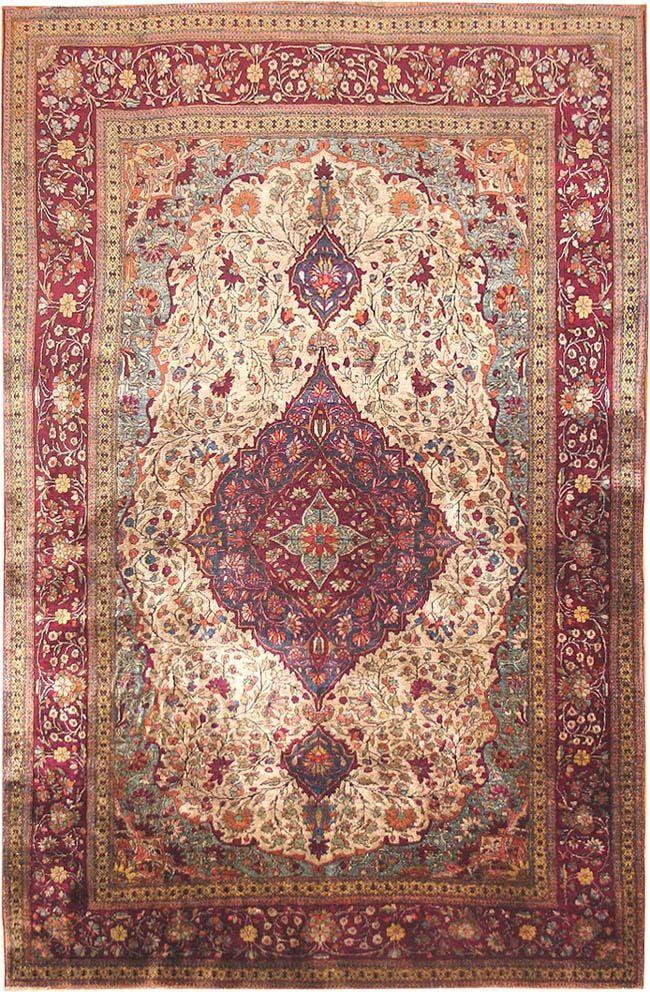 Antique Silk Kashan Persian Rugs 3242 Detail/Large View   By Nazmiyal
