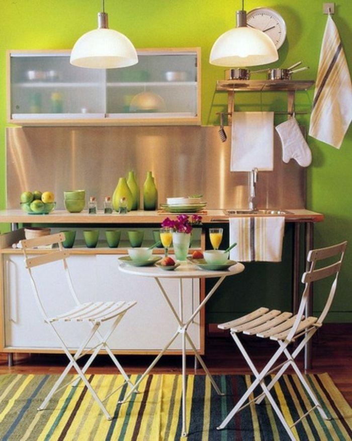 Deco Chambre Loft : table pliante de cuisine étroite table ronde à manger vert cuisine