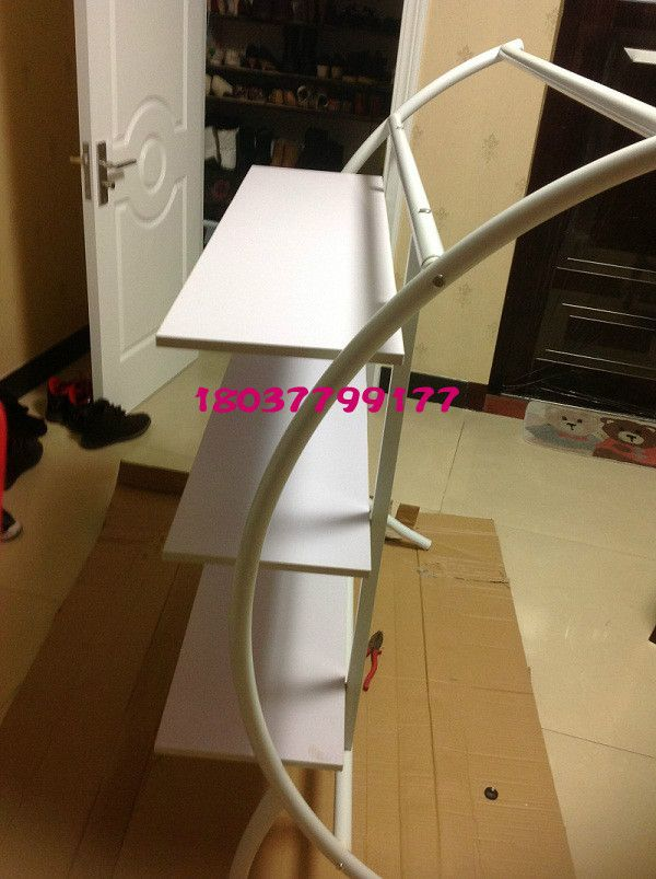 Clothes shelf floor display package clothes shelf hanger frame, wrought iron of the lacquer that bake, three layer zone plate
