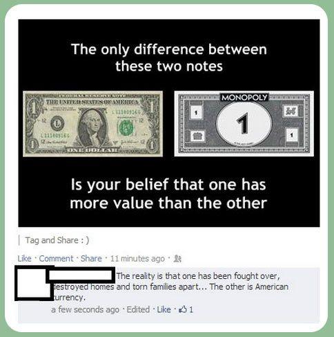 Real money vs. Monopoly money…
