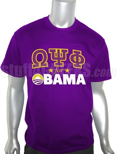 Price:  $39.00  Omega Psi Phi for Obama t-shirt. This design is embroidered, not screen-printed. The result is a higher-quality garment where the letters are stiched-on (sewn into the garment) and the image will never fade, crack, nor peel.