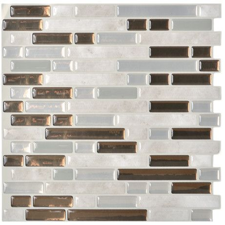 "Smart Tiles Mosaik 10.13"" x 10"" Mosaic Tile in Gray & Brown"