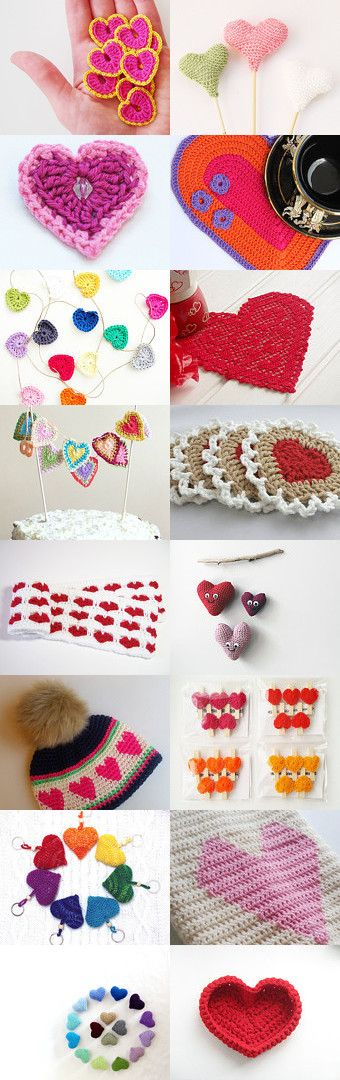 """maRRose - CCC: """"Treasury Tuesday, Crochet Hearts"""" collected by Marianne Dekkers-Roos on Etsy - more info on www.marrose-ccc.com"""