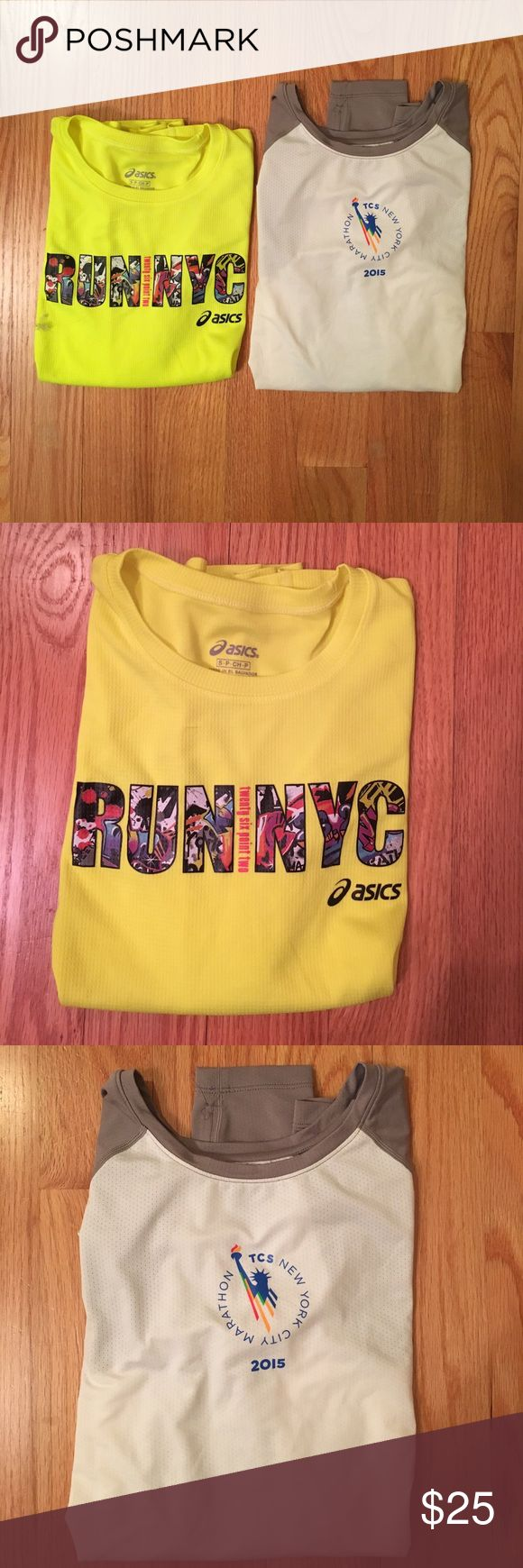 Two NYC Marathon Running Long Sleeves Wish I could say I ran these races but I just bought the shirts at the Asics store to look athletic. Selling both of these together. If you want to look sporty and city chic or if you actually run, these are a great buy! Asics Tops Tees - Long Sleeve