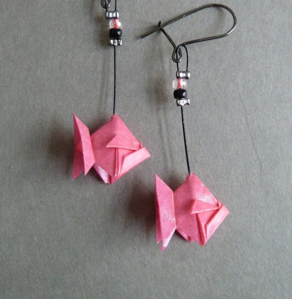 Pink Fish Origami Earrings by ClairesOrigami on Etsy, $22.00