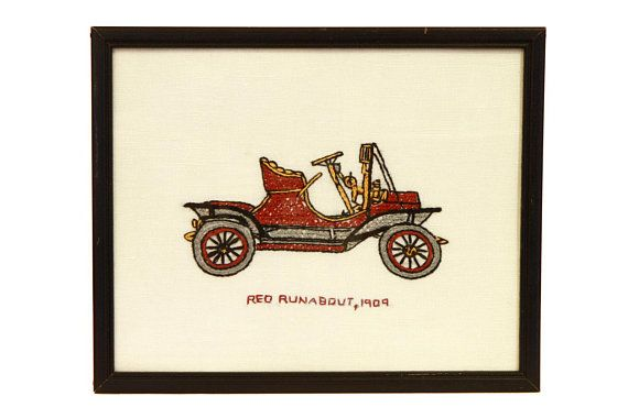 Antique Car Wall Hanging Hand Embroidered Old 1909 Red Runabout Decor Vintage 50s Art Framed Embroidery Nursery
