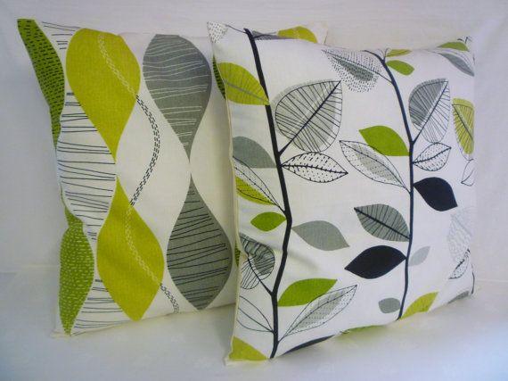 "BIG 22"" PAIR Lime Green Funky Retro Gray Black White Designer Cotton Cushion Covers.Pillowcases Shams Slips"