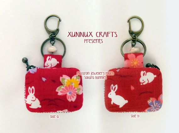 Sakura bunnies macaron bag jewellery pouch proposal by xunnux, $29.00