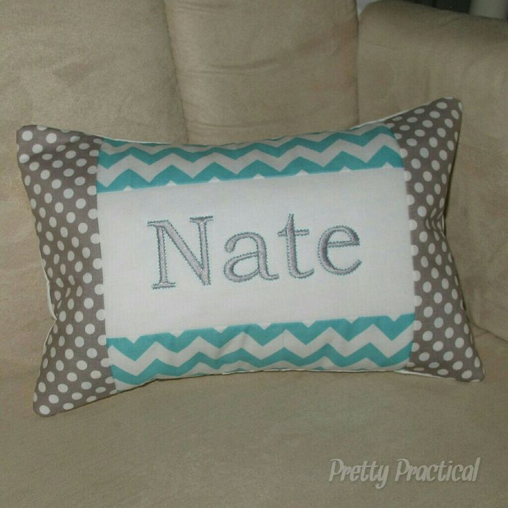 Aqua and Grey custom made personalised cushion.