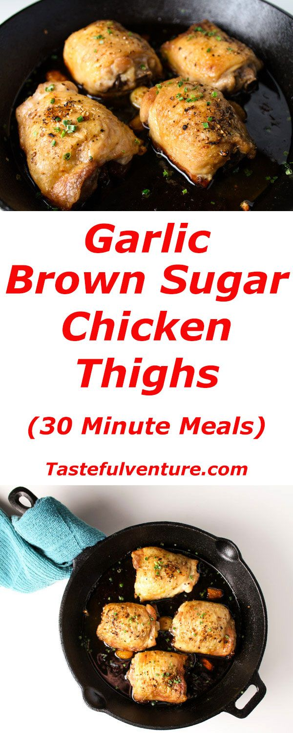 These Garlic Brown Sugar Chicken Thighs can be made in about 30 minutes! We made a glaze of Brown Sugar, Honey, Garlic, and Ginger. | Tastefulventure.com